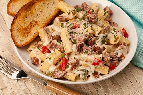 Rigatoni Alfredo with Summer Sausage & Roasted Peppers